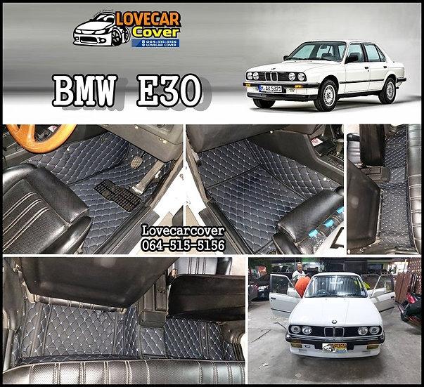 พรมรถยนต์ 6D สีดำด้ายฟ้า BMW E30