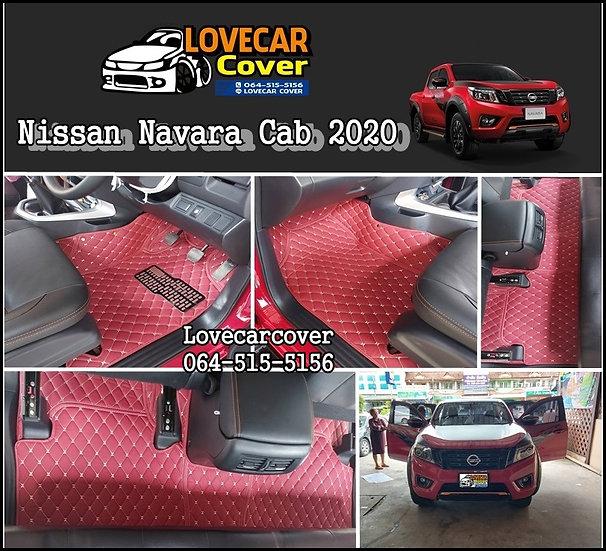 พรมรถยนต์ 6D สีแดงไวน์ Nissan Navara Cab 2020