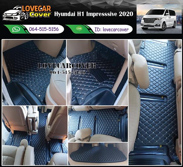 พรมรถยนต์ 6D สีดำด้ายครีม Hyundai H1 Impresssive 2020