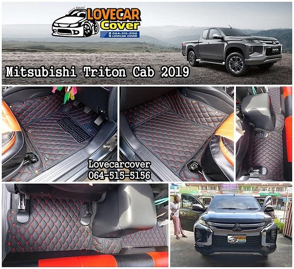 พรมปูพื้นรถยนต์ 6D สีดำด้ายแดง  Mitsubishi Triton Cab 2019
