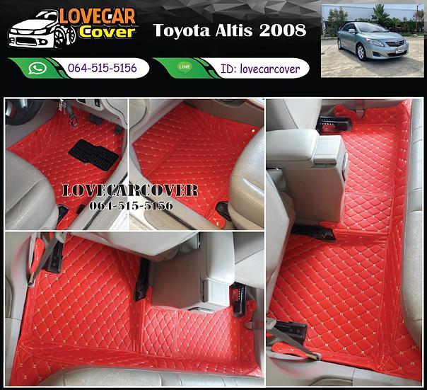 พรมรถยนต์ 6D สีแดงสด Toyota Altis 2008