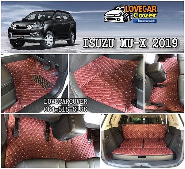 พรมปูพื้นรถยนต์ 6D สีแดงไวท์ Isuzu MU-X 2019