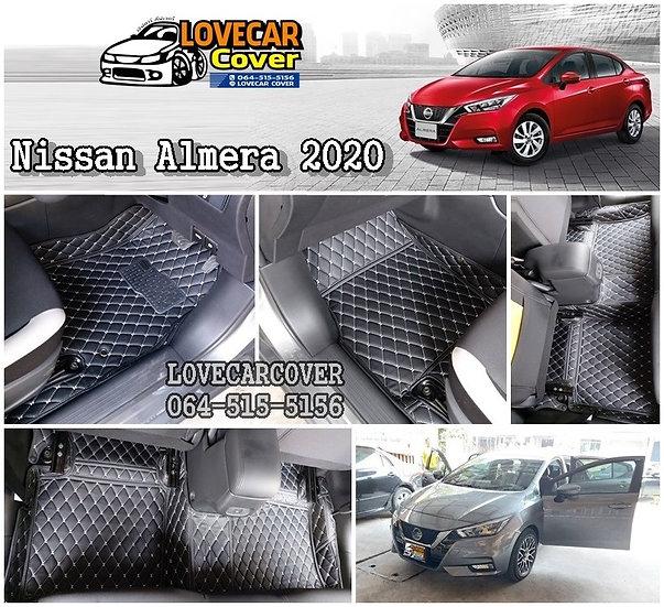 พรมรถยนต์ 6D สีดำด้ายครีม Nissan Almera 2020