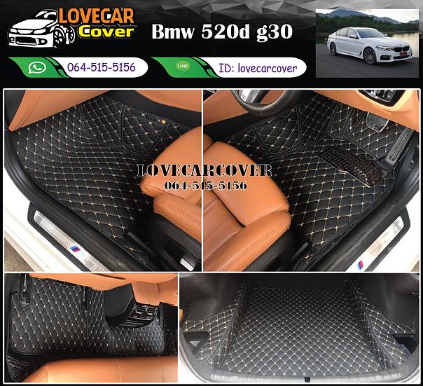 พรมรถยนต์ 6D สีดำด้ายครีม Bmw 520d g30