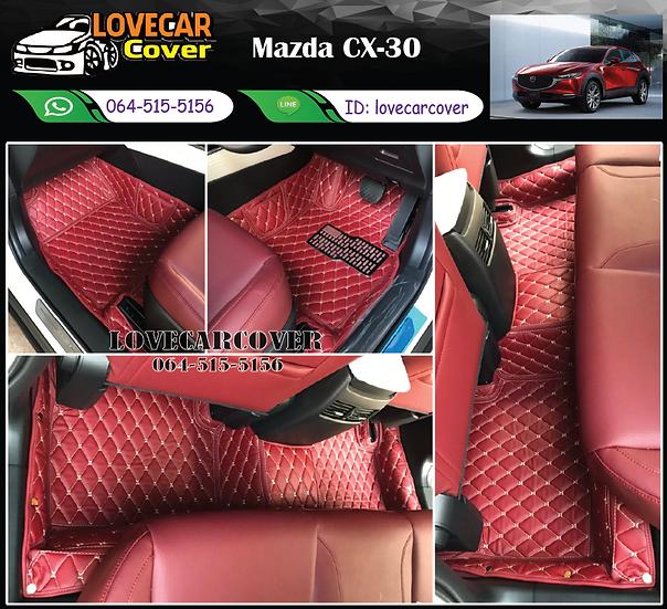 พรมรถยนต์ 6D สีแดงไวน์ Mazda Cx-30