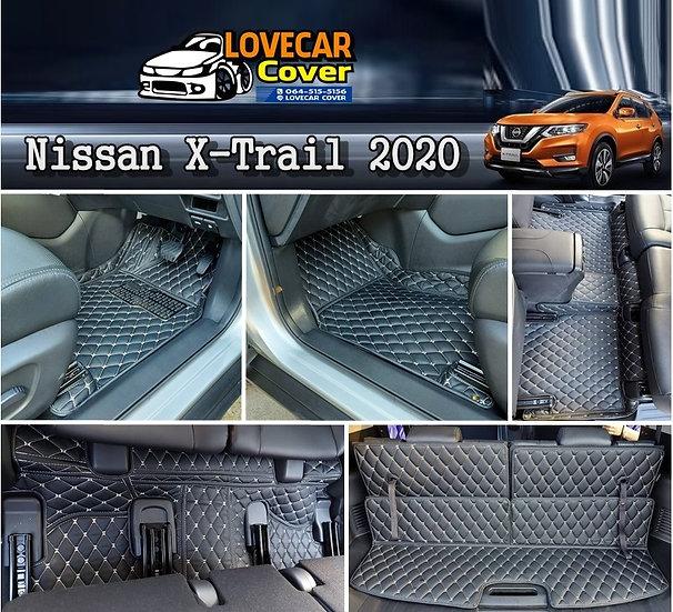 พรมรถยนต์ 6D สีดำด้ายครีม Nissan X-Trail 2020