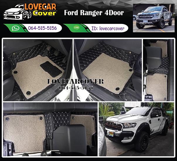 พรมรถยนต์ 7D สีดำด้ายครีม+ไวนิลสีเทา Ford Ranger 4 Door