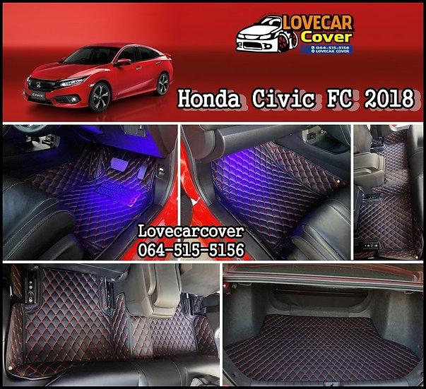พรมรถยนต์ 6D สีดำด้ายแดง Honda Civic FC 2018