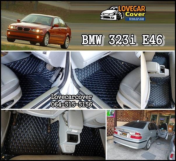 พรมรถยนต์ 6D สีดำด้ายฟ้า BMW 323i E46