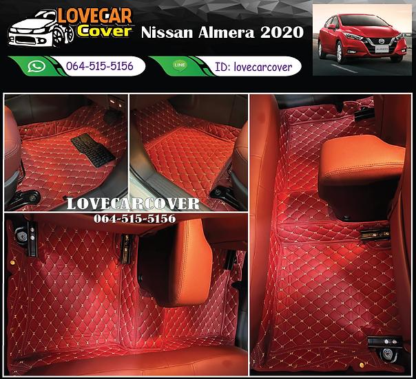 พรมรถยนต์ 6D สีแดงไวน์ Nissan Almera 2020