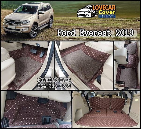 พรมปูพื้นรถยนต์ 7D สีกาแฟ+ไวนิลน้ำตาล Ford Everest 2019