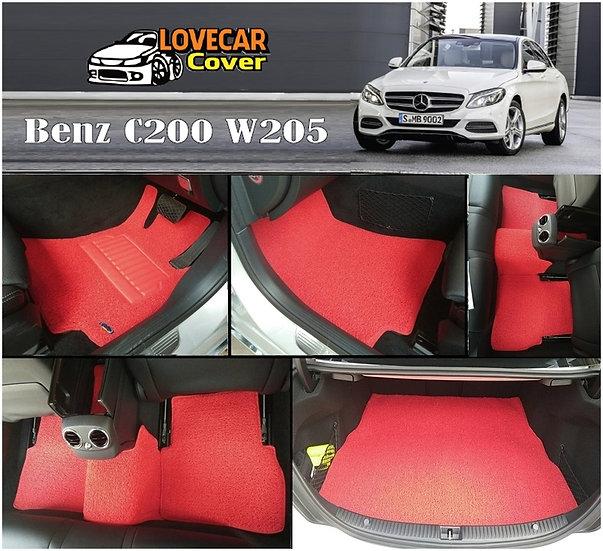 พรมดักฝุ่นรถยนต์ (พรมไวนิล) สีแดง Benz C200 W205
