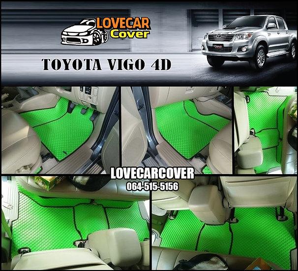 ผ้ายางกระดุมใหญ่ EVA สีเขียวขอบสีดำ Toyota Vigo 4D
