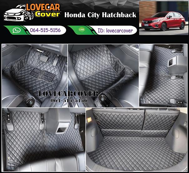 พรมรถยนต์ 6D สีดำล้วน Honda city hatchback