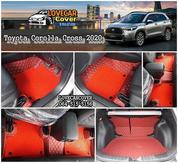 พรมรถยนต์ 7D สีแดงไวน์+ไวนิลสีแดงสด Toyota Corolla Cross 2020