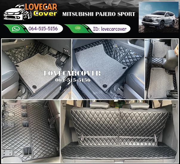 พรมรถยนต์ 7D สีดำล้วน+ไวนิลสีเทา MITSUBISHI PAJERO SPORT