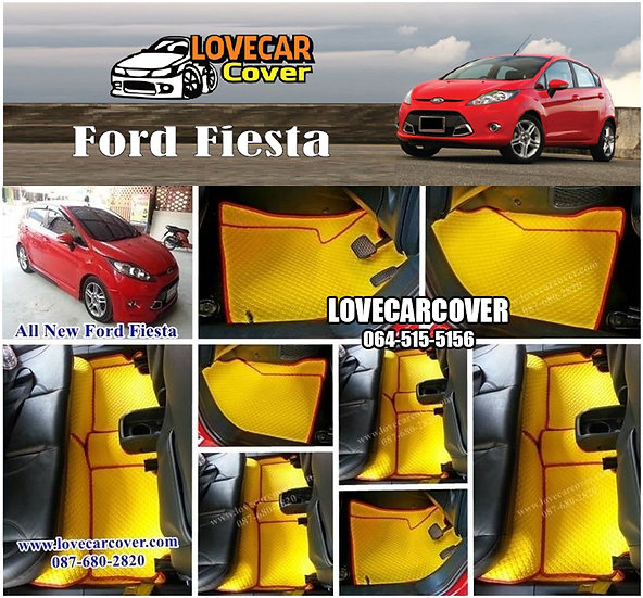 ผ้ายางกระดุมใหญ่ EVA สีเหลืองขอบสีแดง Ford Fiesta