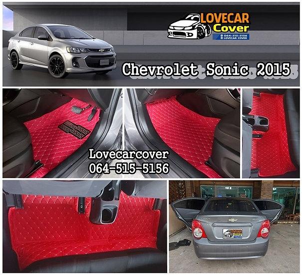 พรมปูพื้นรถยนต์ 6D สีแดงสด  Chevrolet Sonic 2015
