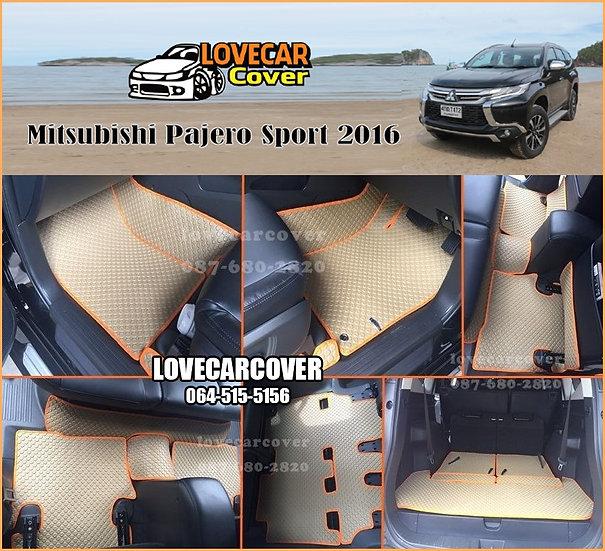 ผ้ายางกระดุมใหญ่ EVA สีครีมขอบสีส้ม Mitsubishi Pajero Sport 2014