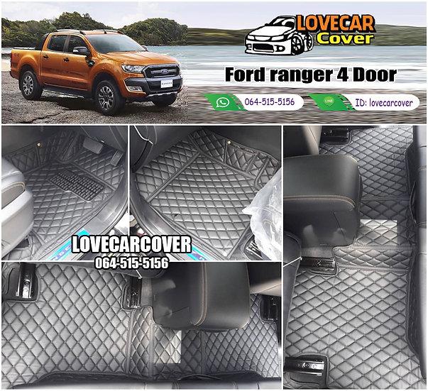 พรมรถยนต์ 6D สีดำล้วน Ford Ranger 4 Door