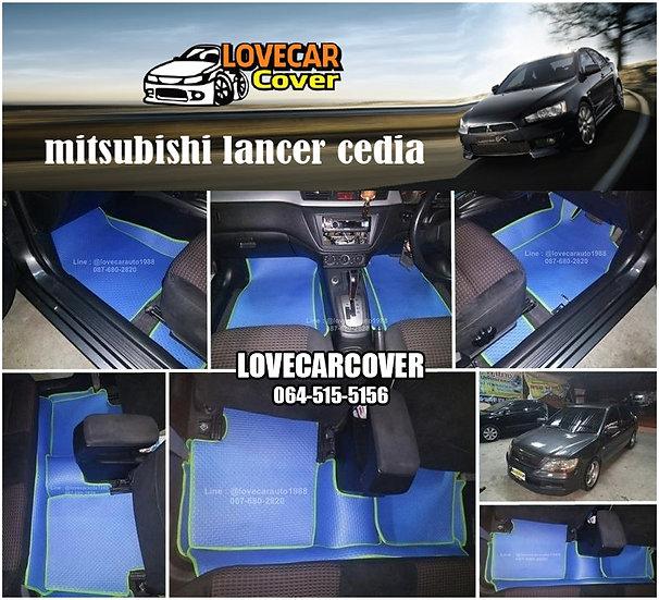 ผ้ายางลายธนู EVA สีฟ้าขอบสีเขียว Mitsubishi lancer Cedia