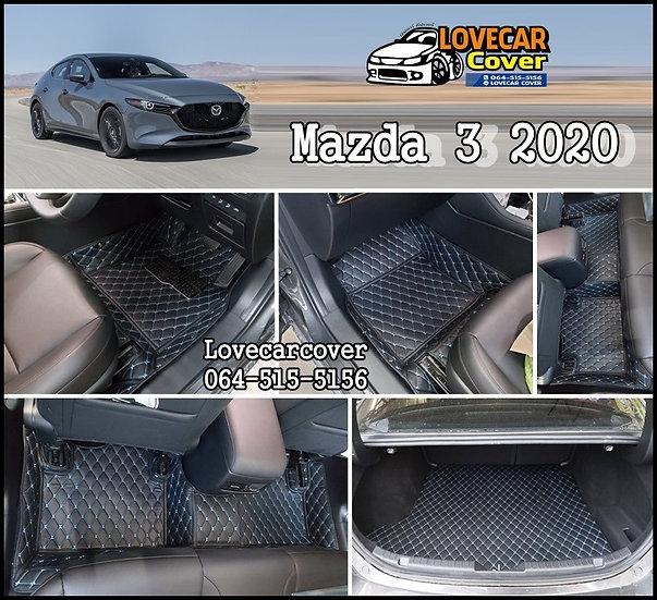 พรมปูพื้นรถยนต์ 6D สีดำด้ายฟ้า Mazda 3 2020
