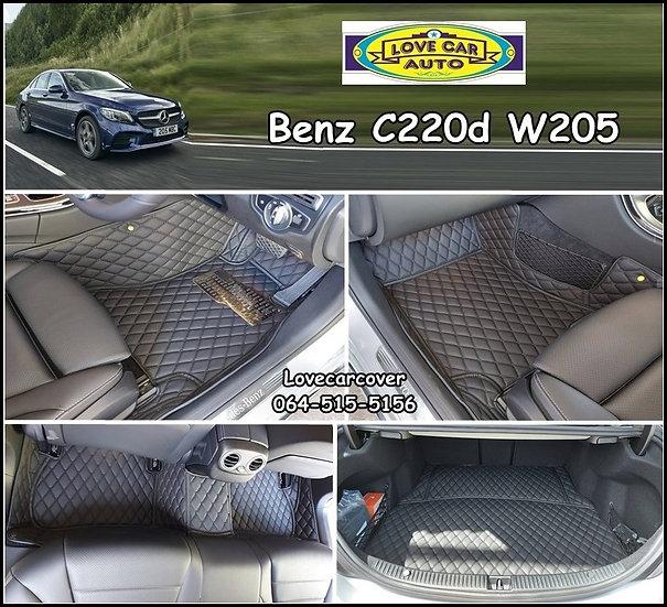 พรมปูพื้นรถ 6d สีดำ Benz C220 W205