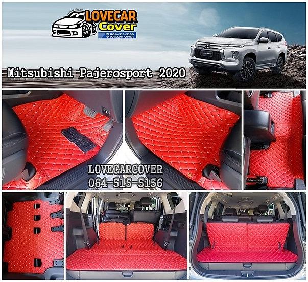 พรมปูพื้นรถยนต์ 6D สีแดงสด  Mitsubishi Pajero sport 2020