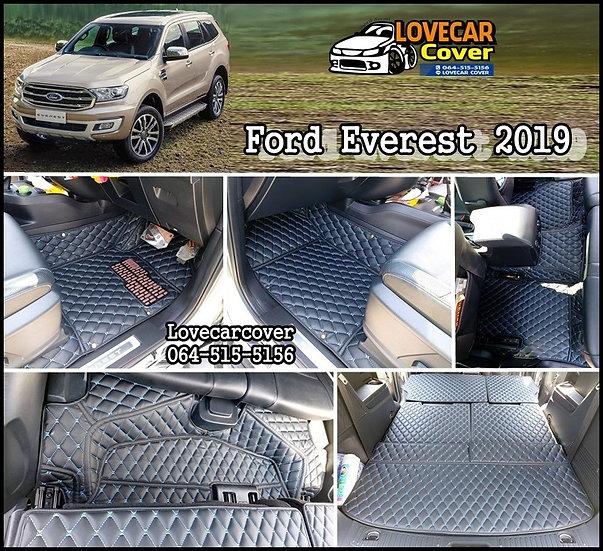 พรมรถยนต์ 6D สีดำด้ายฟ้า Ford Everest 2019