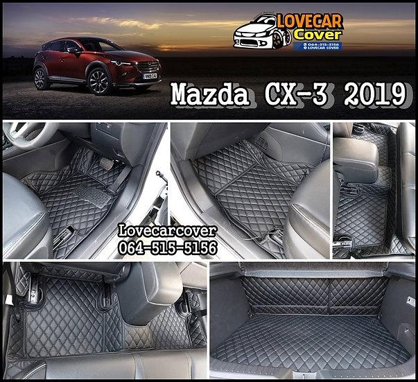 พรมปูพื้นรถยนต์ 6D สีดำล้วน Mazda CX-3 2019