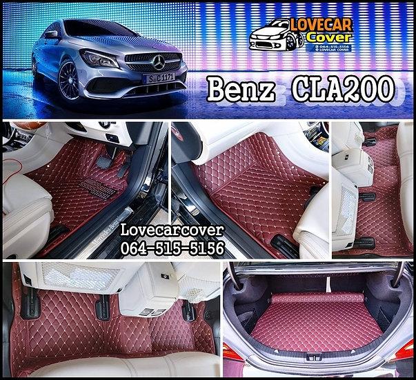 พรมปูพื้นรถยนต์ 6D สีแดงไวท์ Benz CLA200