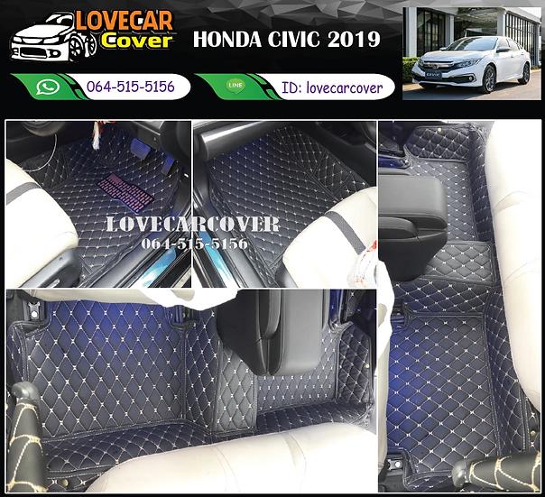พรมรถยนต์ 6D สีดำด้ายทอง Honda Civic 2019