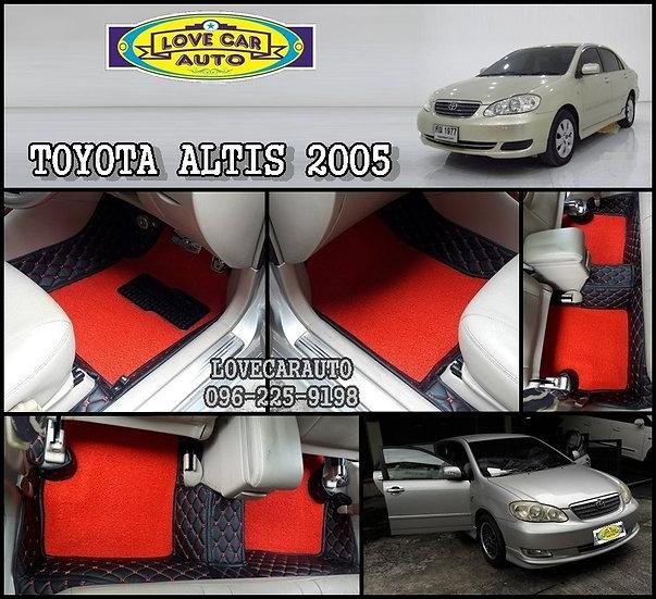 พรมปูรถToyota Altis 2005 พรมรถยนต์ ดำด้ายแดง พรมไวนิลแดง