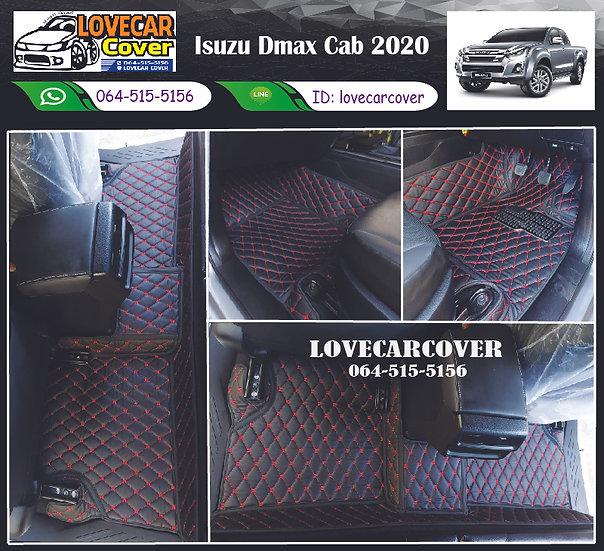 พรมปูพื้นรถยนต์ 6D สีดำด้ายแดง Isuzu D-max Cab 2020