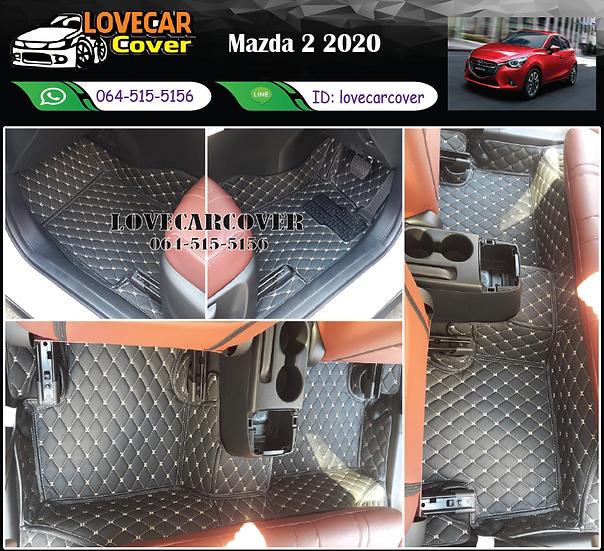 พรมรถยนต์ 6D สีดำด้ายทอง Mazda 2 2020
