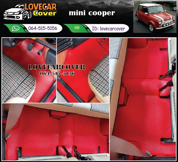 พรมกระดุมเล็ก PVC สีแดง mini cooper