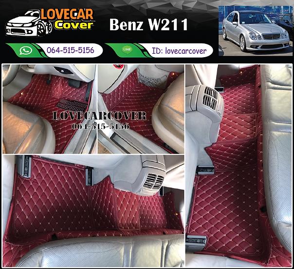 พรมรถยนต์ 6D สีแดงไวน์ Benz W211