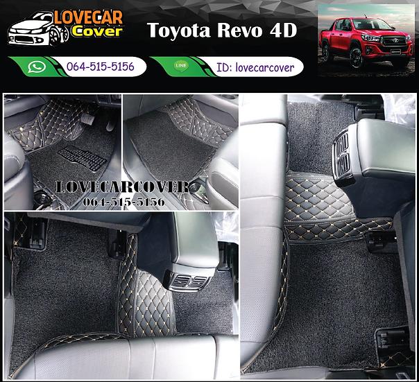 พรมรถยนต์ 8D สีดำด้ายทอง + ไวนิลสีดำ Toyota Revo