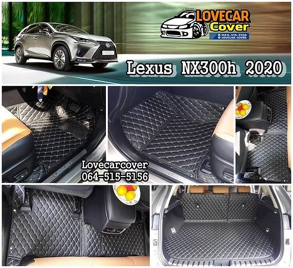 พรมปูพื้นรถยนต์ 6D สีดำด้ายครีม Lexus NX300h 2020