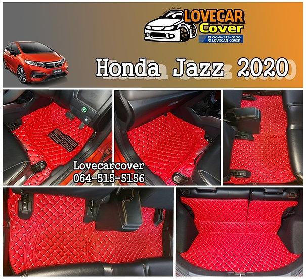 พรมรถยนต์ 6D สีแดงสด Honda Jazz 2020