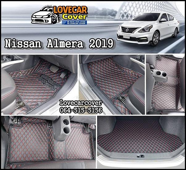 พรมปูพื้นรถยนต์ 6D สีดำด้ายแดง Nissan Almera 2019