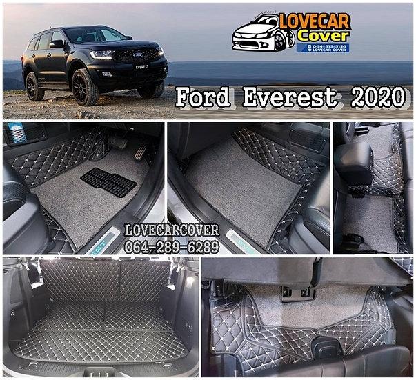 พรมปูพื้นรถ Ford Everest 2020 พรมสีดำด้ายครีม+พรมไวนิลเทา