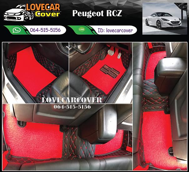 พรมรถยนต์ 8D สีดำด้ายแดง + ไวนิลสีแดง Peugeot RCZ