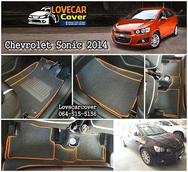 พรมดักฝุ่นรถยนต์ สีเทาขอบส้ม Chevrolet Sonic