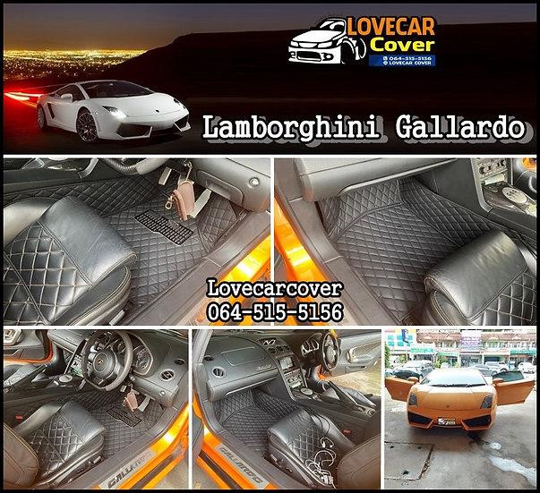 พรมปูพื้นรถยนต์ 6D สีดำล้วน Lamborghini Gallardo
