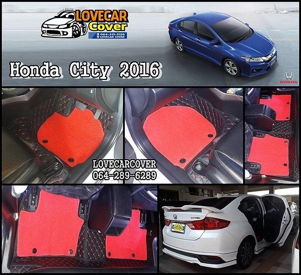 พรมรถยนต์ 7D สีดำด้ายแดง+ไวนิลสีแดง Honda City 2016