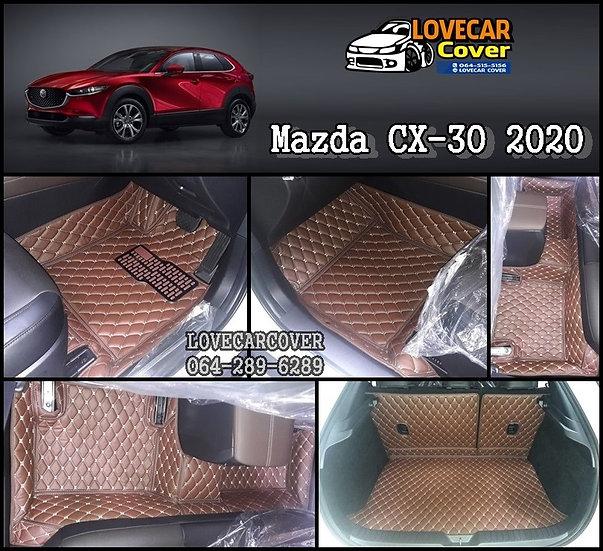 พรมรถยนต์ 6D สีกาแฟ Mazda CX30 2020