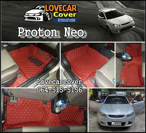 พรมปูพื้นรถยนต์ 6D สีแดงไวท์ Proton Neo