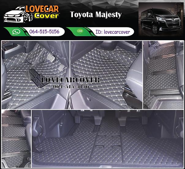พรมรถยนต์ 6D สีดำด้ายทอง Toyota Majesty