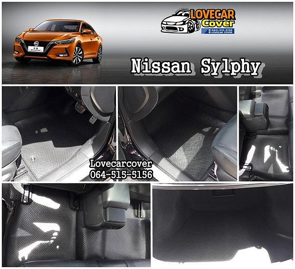 พรมกระดุมเล็ก PVC สีดำ Nissan Sylphy